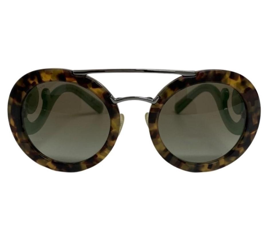 Óculos Prada Redondo com Haste Verde Splash