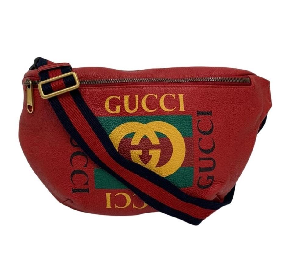 Pochete Gucci Logo Print Red