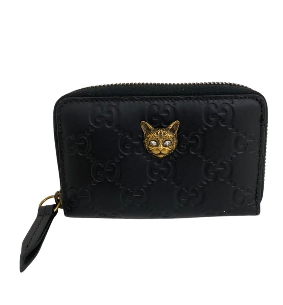 Porta-Cartão Gucci Cat Signature Zip Around