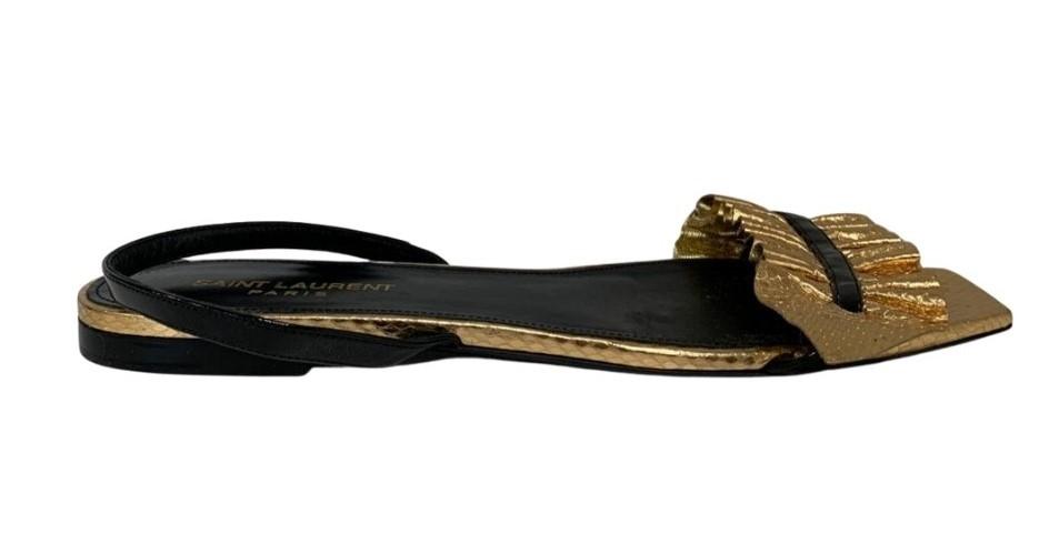 Rasteira Yves Saint Laurent Dourada