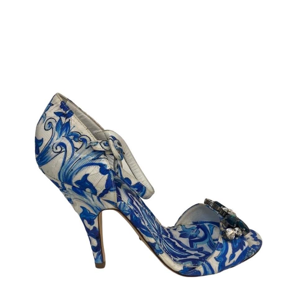 Sandália Dolce & Gabbana Belluci Azul com Branco