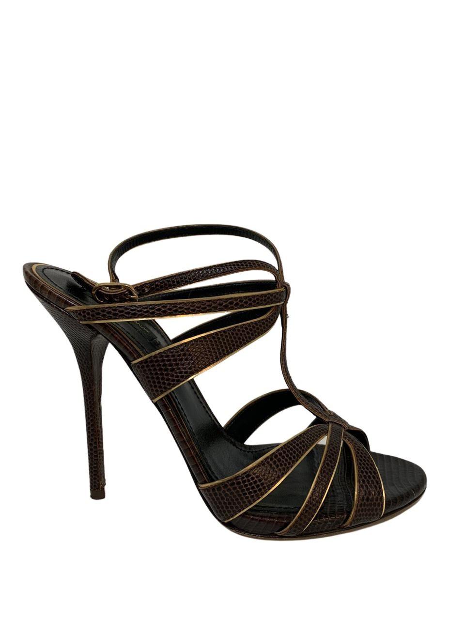 Sandália Dolce & Gabbana Marrom Croco