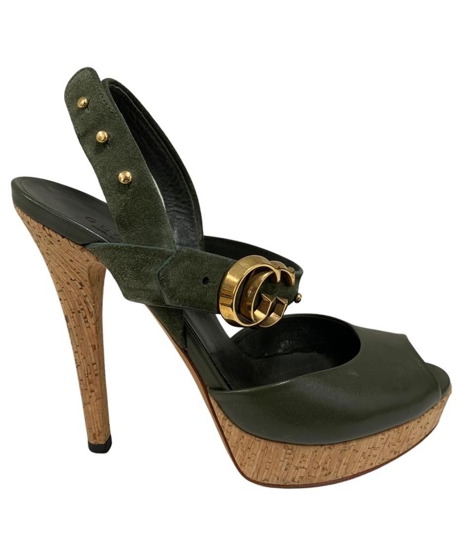 Sandália Gucci Verde Militar