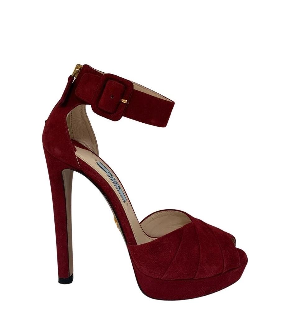 Sandália Prada Suede Vermelha