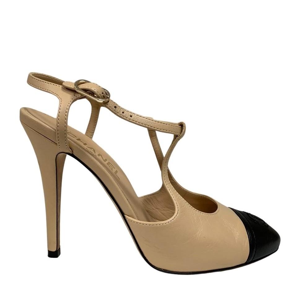 Sapato Chanel Bege com Preto