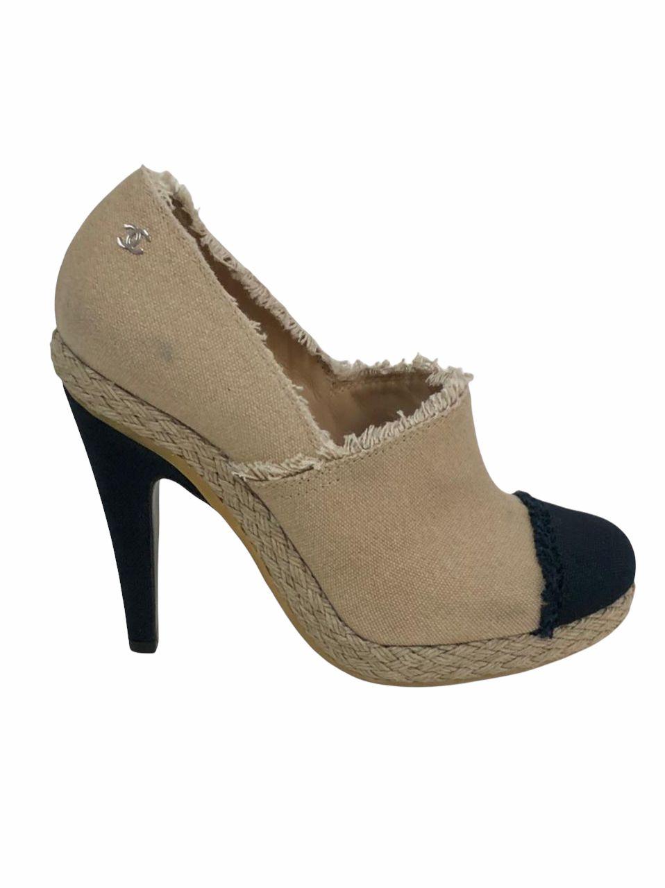 Sapato Chanel Bicolor Tecido