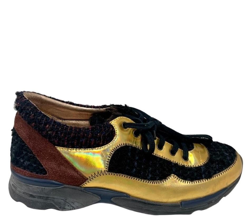 Tênis Chanel Baskets Dourado