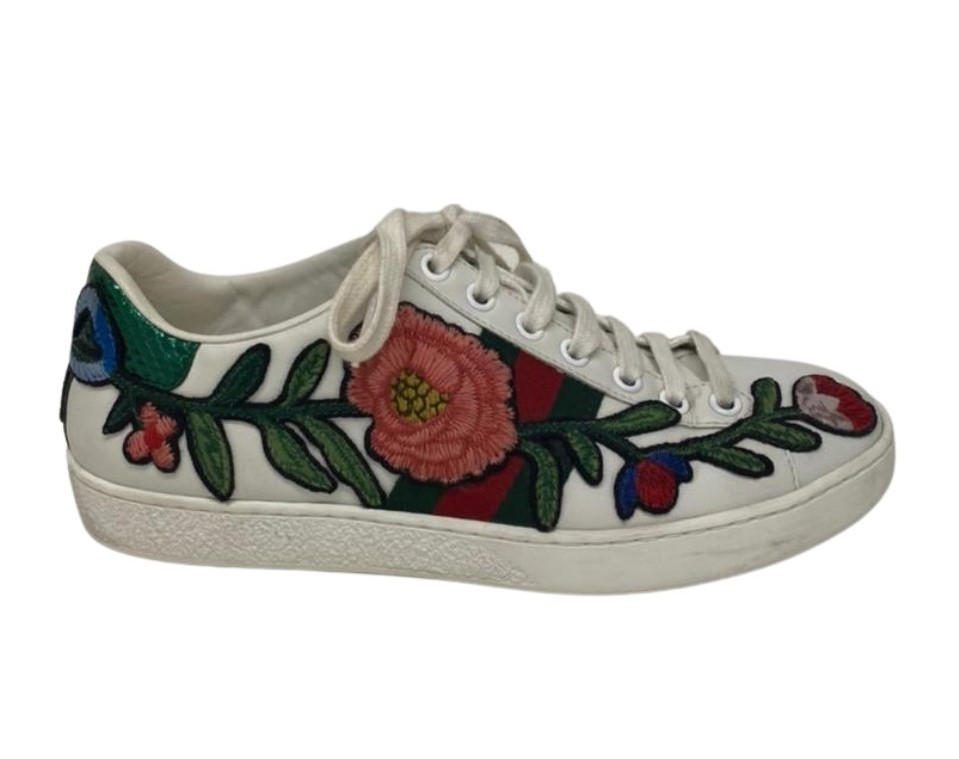 Tênis Gucci New Ace Floral Embroidered Low Top
