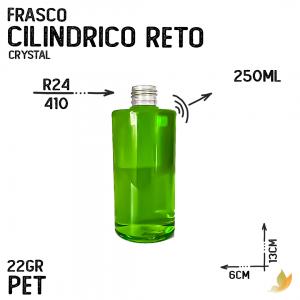 FRASCO PET CILINDRICO RETO R24 250ML