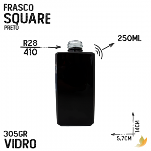 FRASCO SQUARE R28 PRETO 250ML