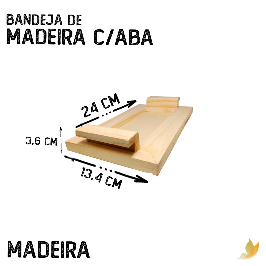 BANDEJA DE MADEIRA C/ABA 24X13,5X3,5