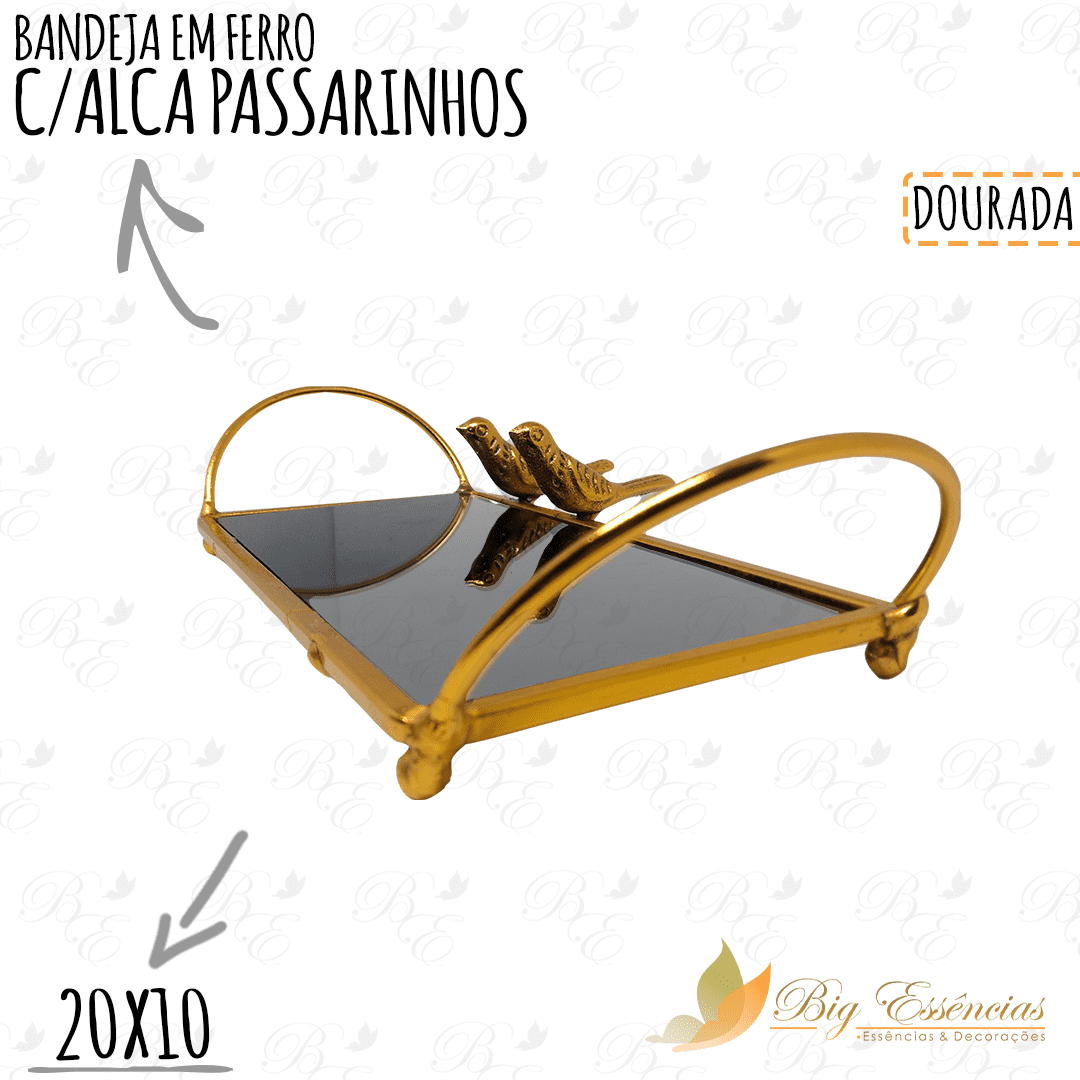 BANDEJA EM FERRO RETANG 20X10 C/ALCA PASSARINHOS