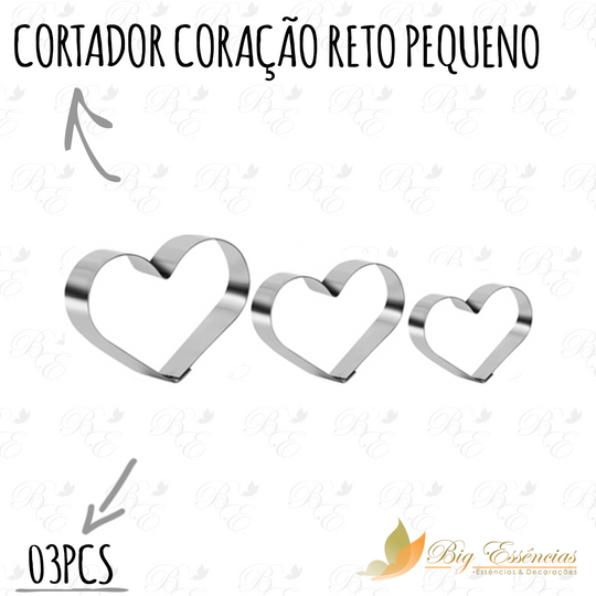 CORTADOR CORACAO RETO PEQUENO 03 PCS
