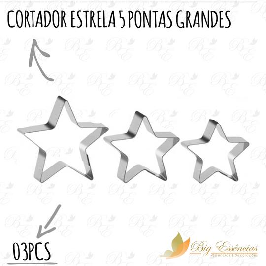 CORTADOR ESTRELA 5 PONTAS GRANDE 03 PCS