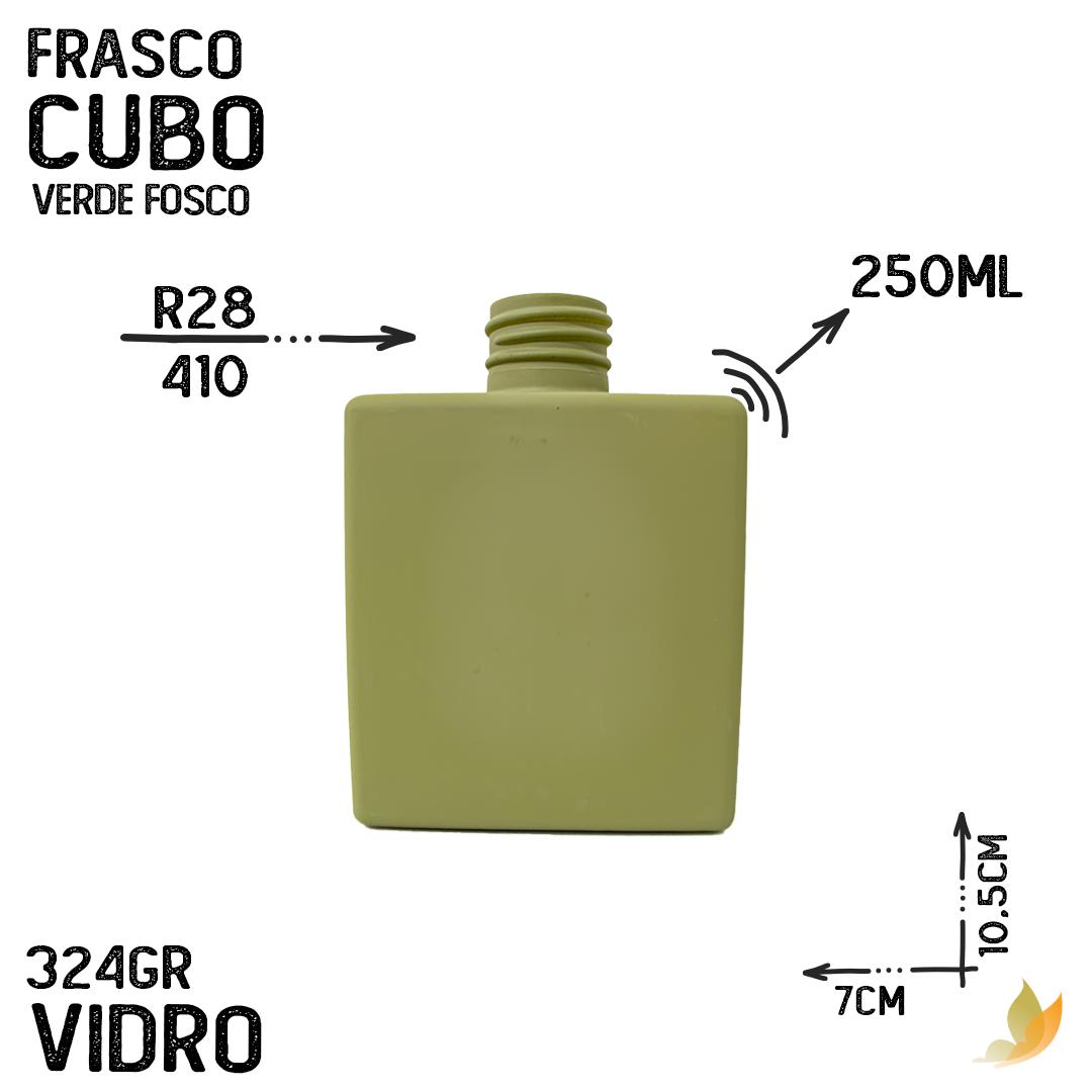 FRASCO CUBO R28/410 VERDE FOSCO 250 ML
