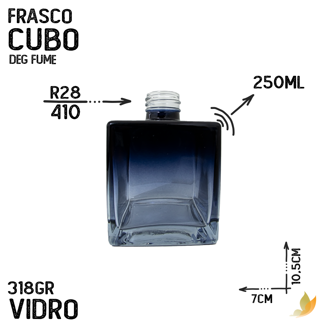 FRASCO CUBO R28 DEGRADE PRETO/AZUL 250ML