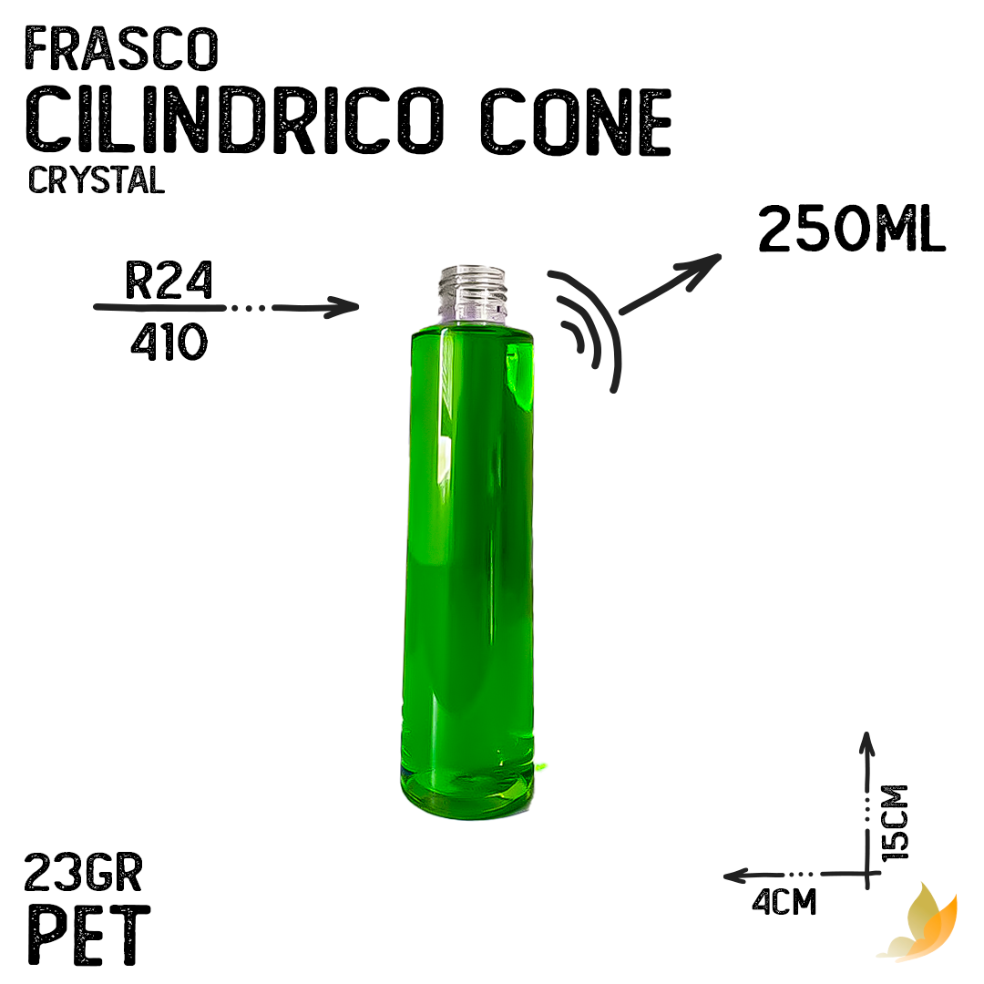 FRASCO PET CILINDRICO CONE R24 250ML