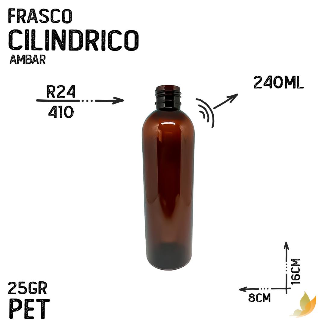 FRASCO PET CILINDRICO R24 AMBAR 240ML