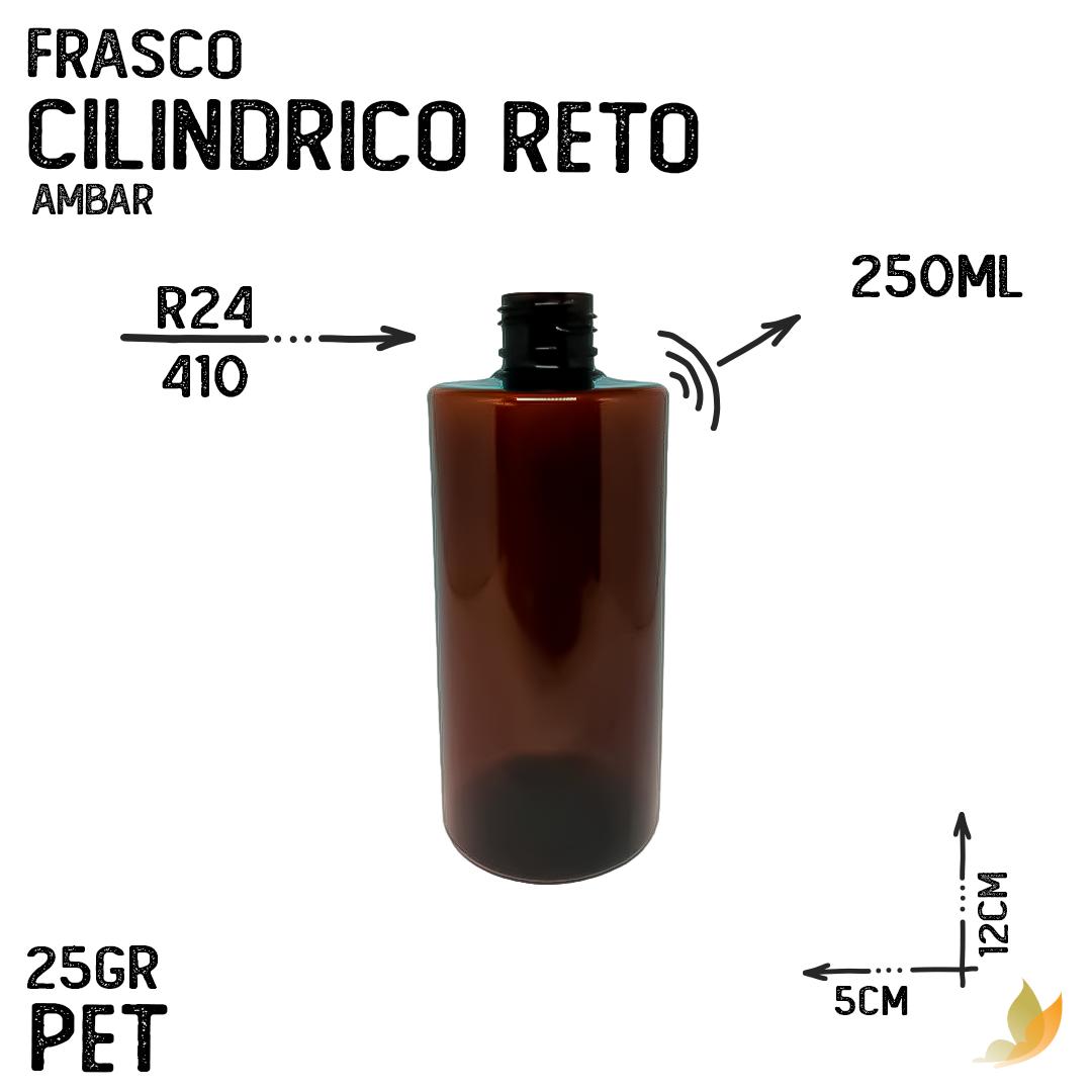 FRASCO PET CILINDRICO RETO R24 AMBAR 250ML