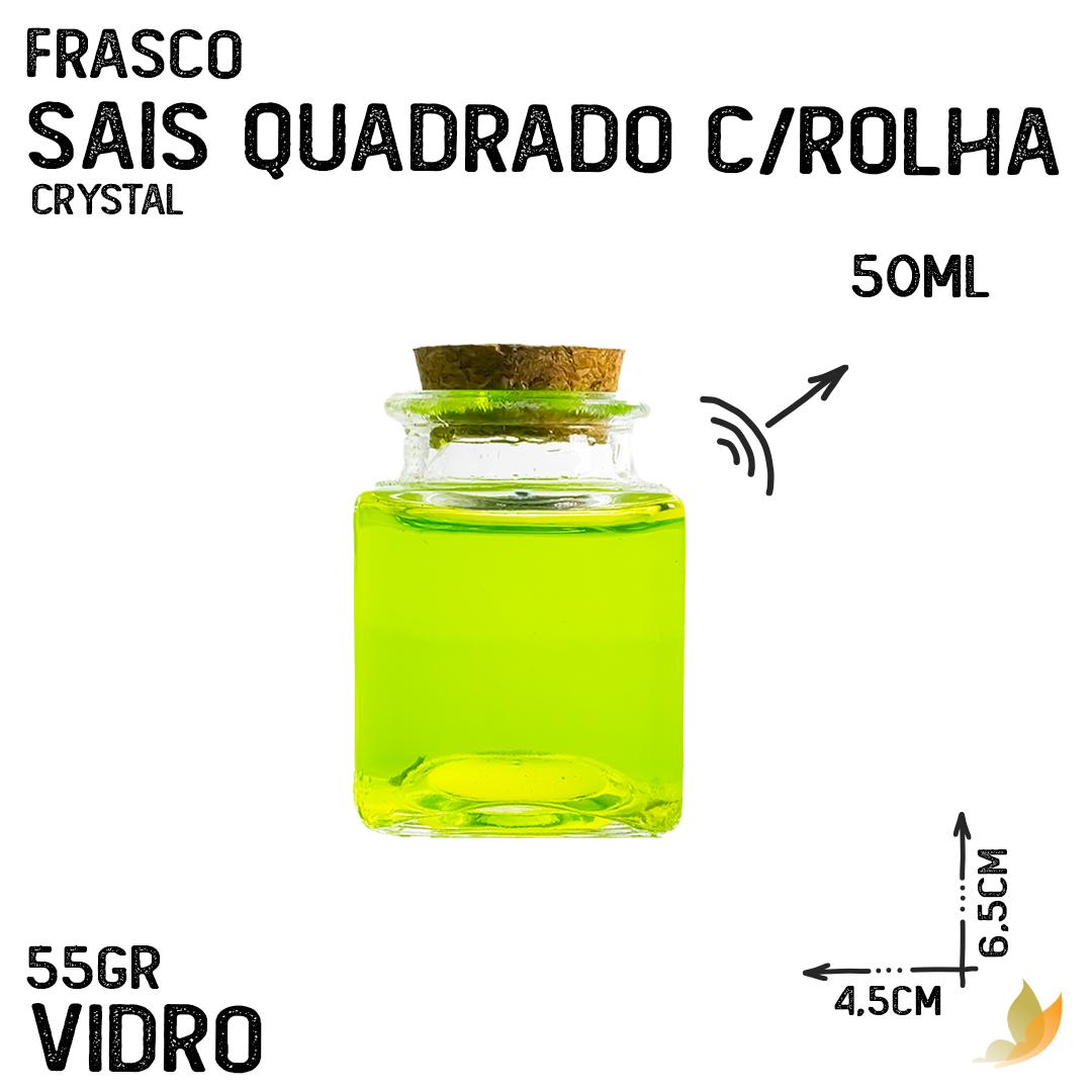 FRASCO SAIS QUADRADO C/ROLHA 50ML