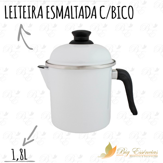 LEITEIRA ESMALTADA C/BICO C/TAMPA 1,8L