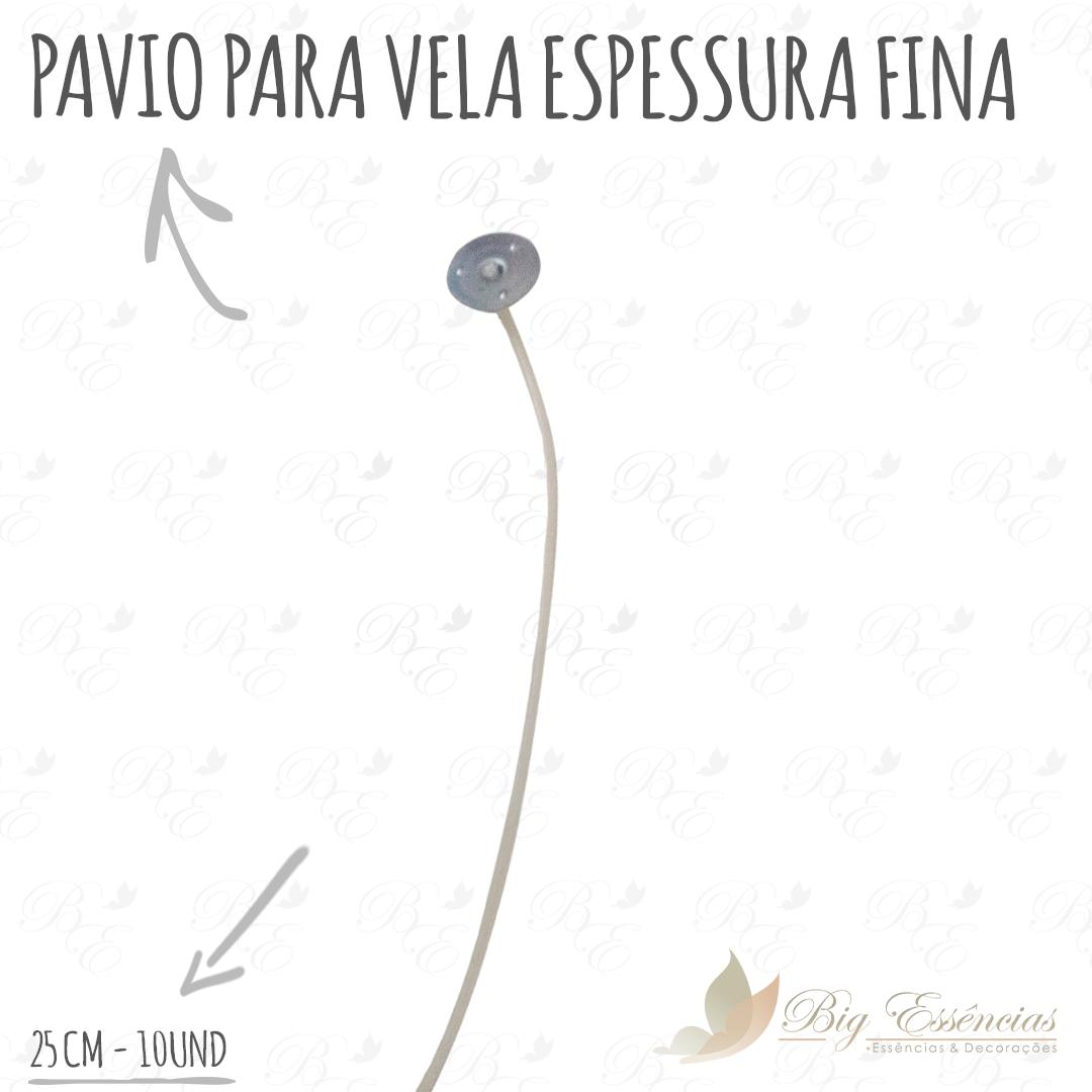 PAVIO P/VELA ESPESSURA FINA 25CM 10 UNID