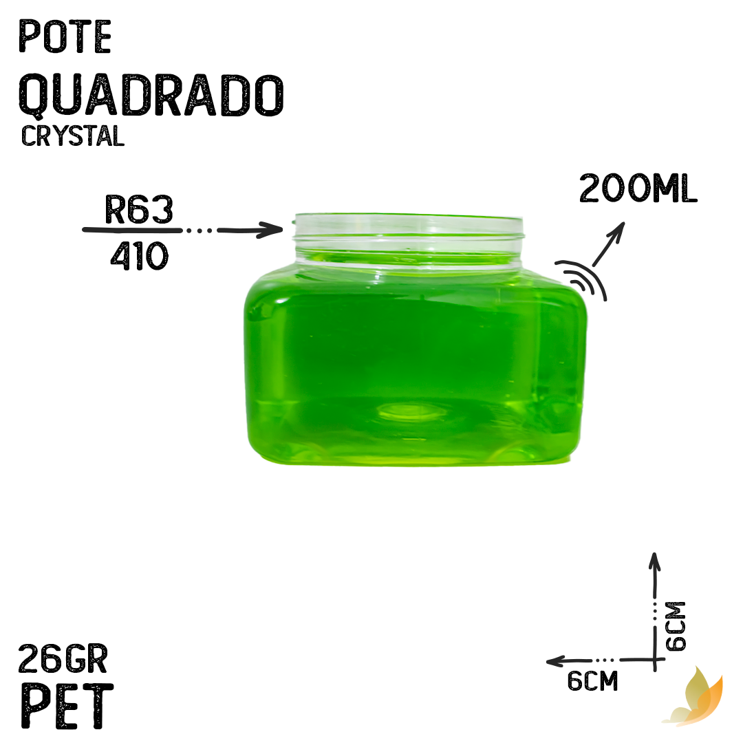 POTE CRYSTAL QUADRADO 200ML