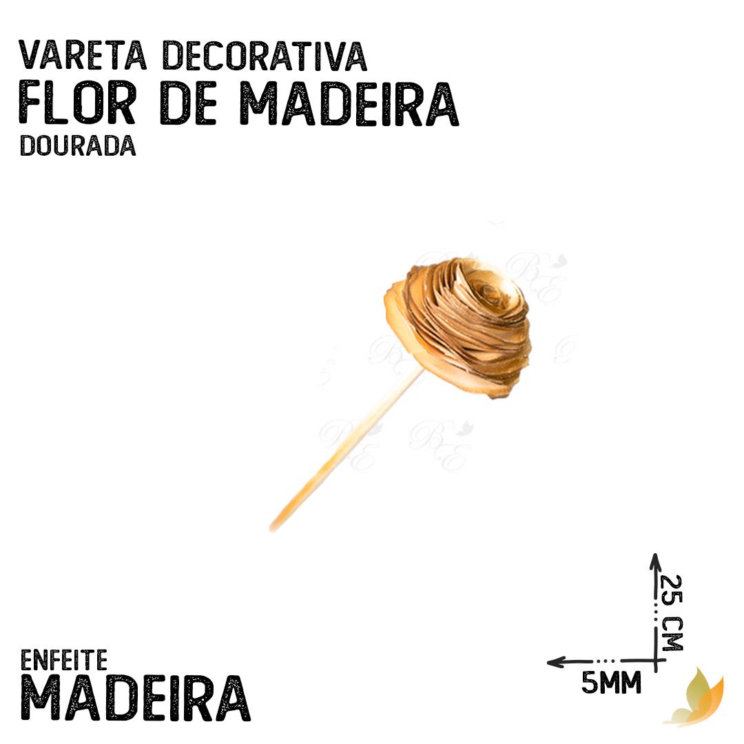 VARETA DECORATIVA FLOR DE MADEIRA DOURADA