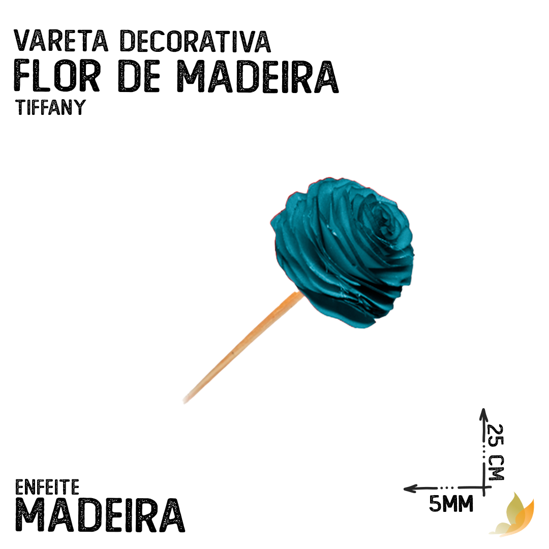 VARETA DECORATIVA FLOR DE MADEIRA TIFFANY