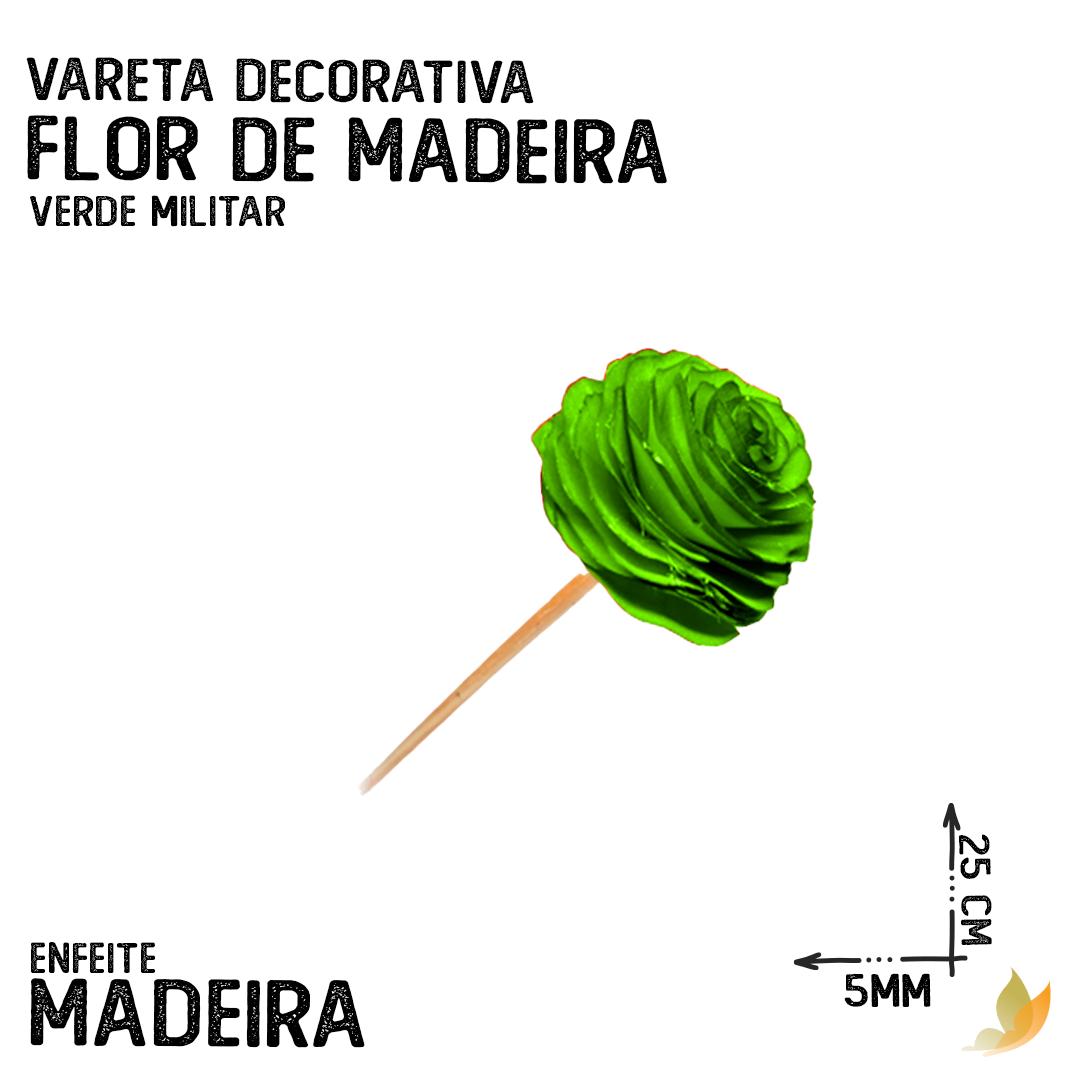VARETA DECORATIVA FLOR DE MADEIRA VERDE MILITAR