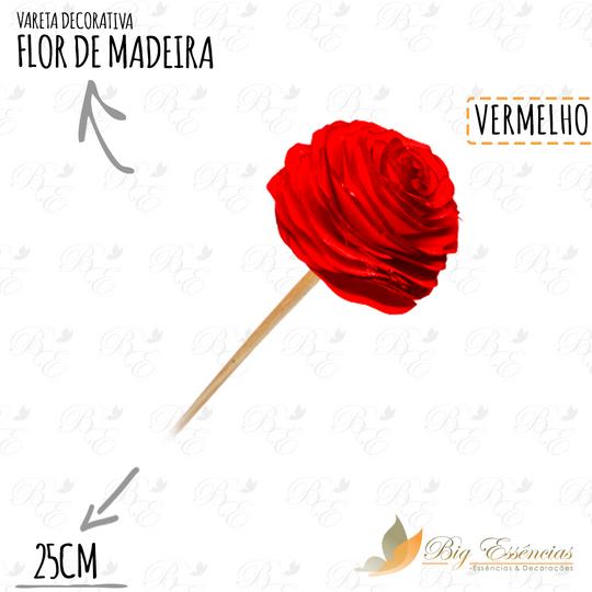 VARETA DECORATIVA FLOR DE MADEIRA VERMELHA
