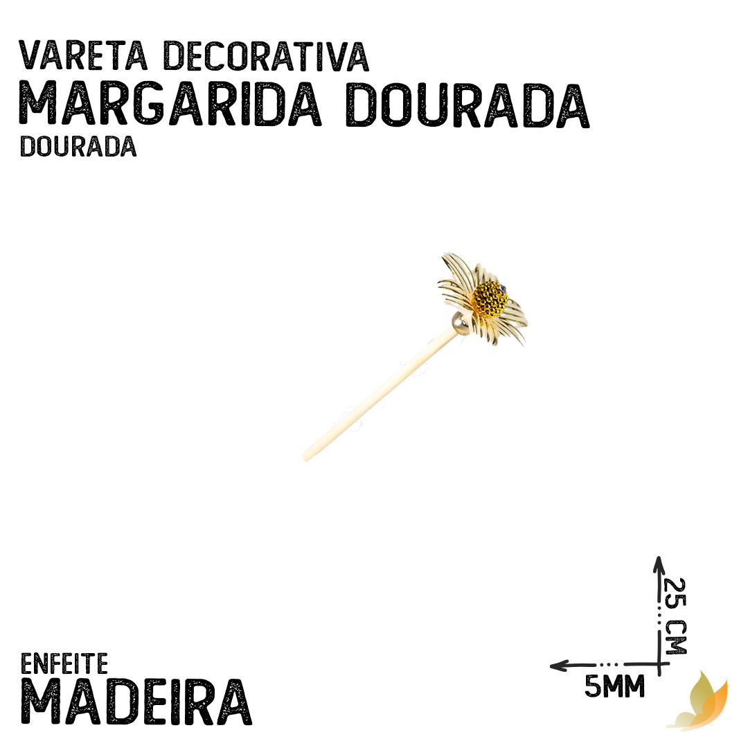 VARETA DECORATIVA FLOR DE MARGARIDA DOURADA