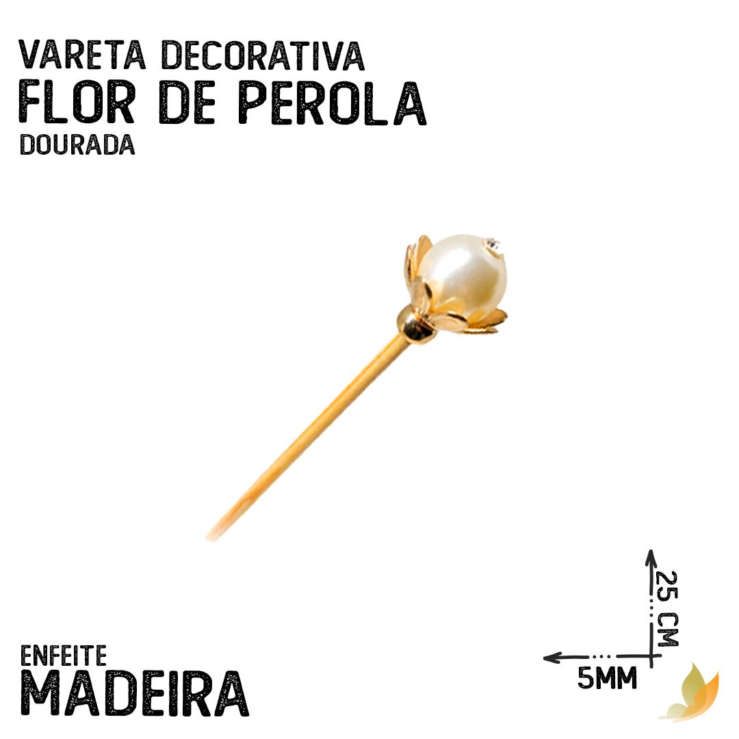 VARETA DECORATIVA FLOR DE PEROLA DOURADA