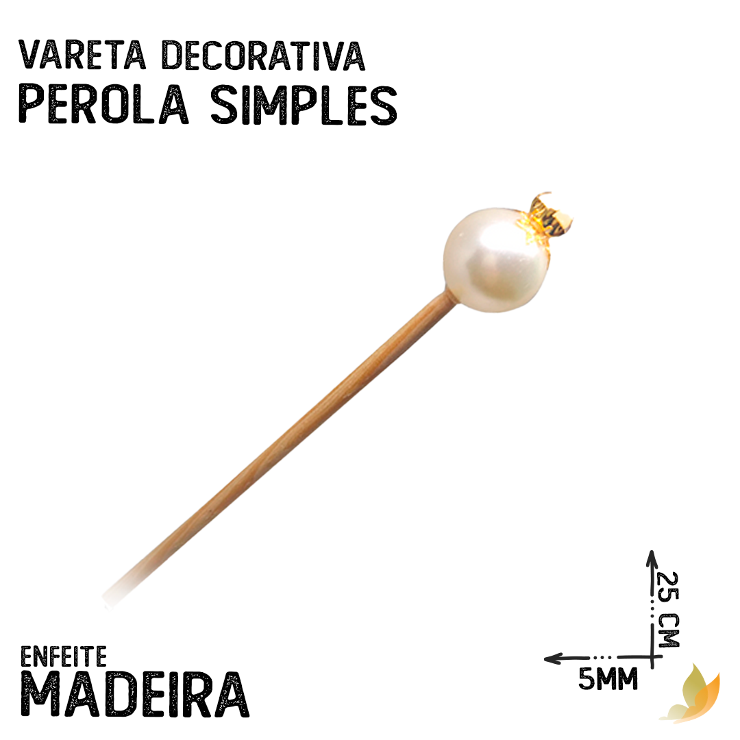 VARETA DECORATIVA PEROLA SIMPLES DOURADA
