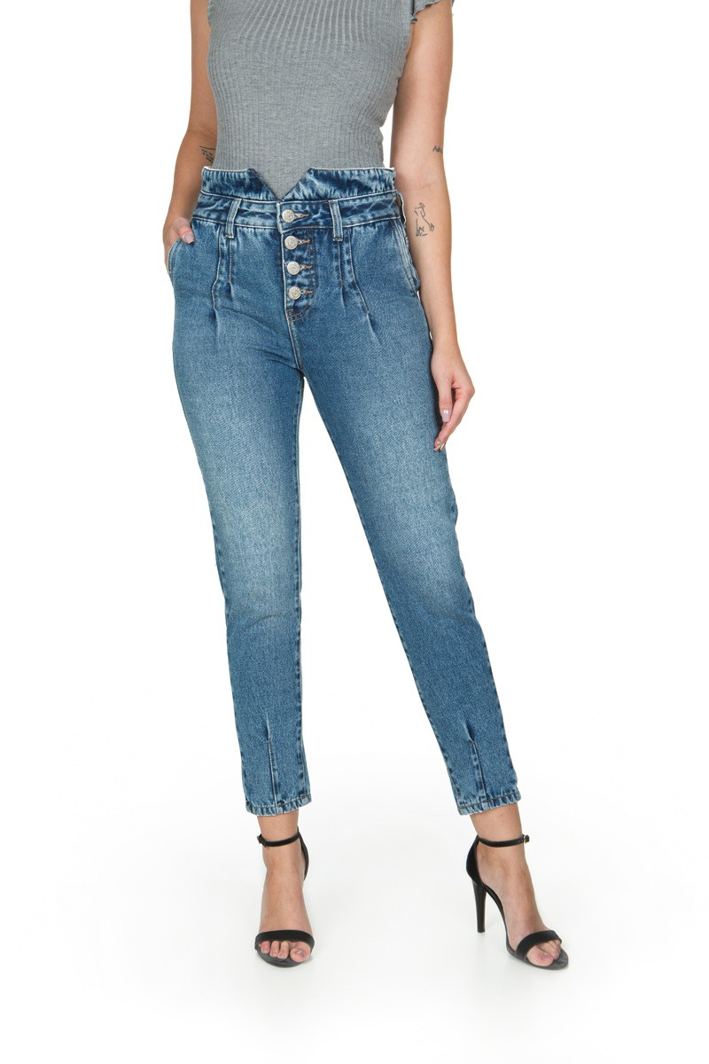 CALÇA JEANS MOM DENIM CLOCHARD