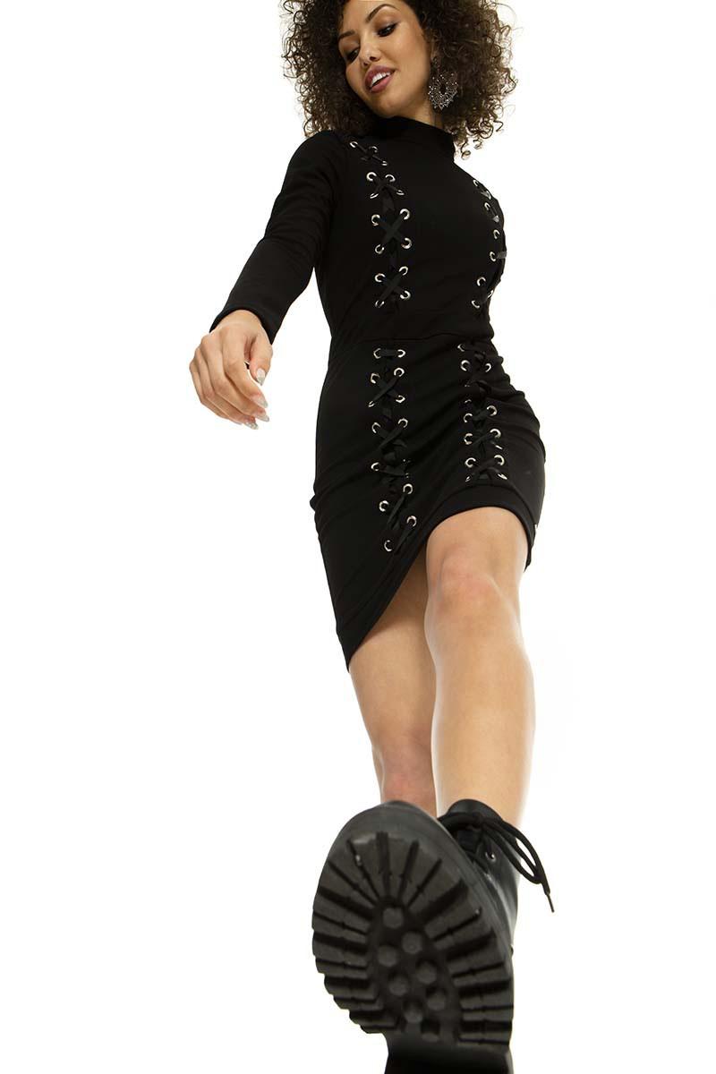 Vestido curto de Crepe com trançado de gorgurão