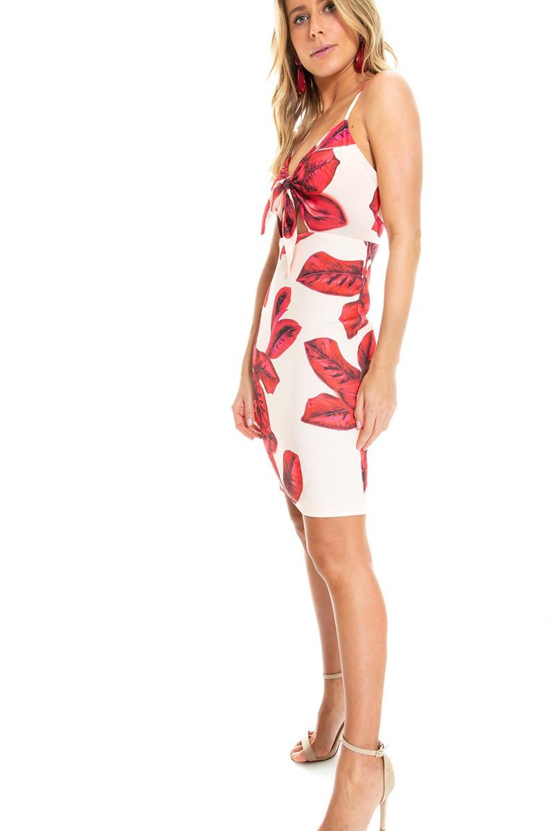 Vestido de alça curta floral neoprene