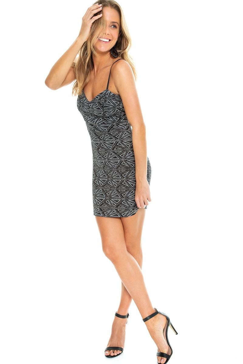Vestido glitter curto de alça fina ? Black Edition.