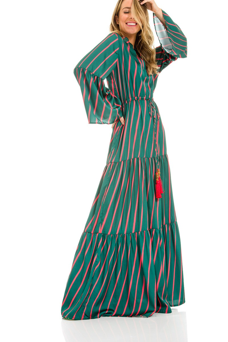 Vestido longo de Cetim listrado