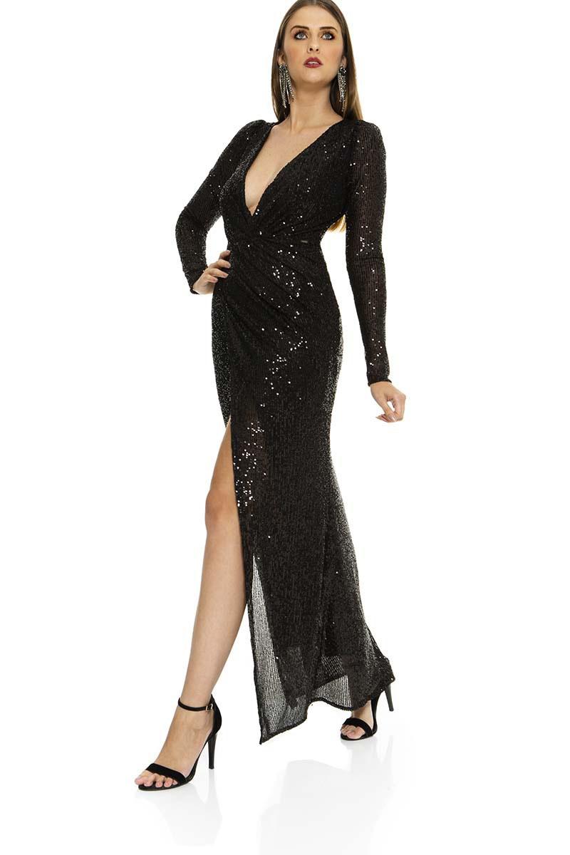 Vestido longo paetês com fenda