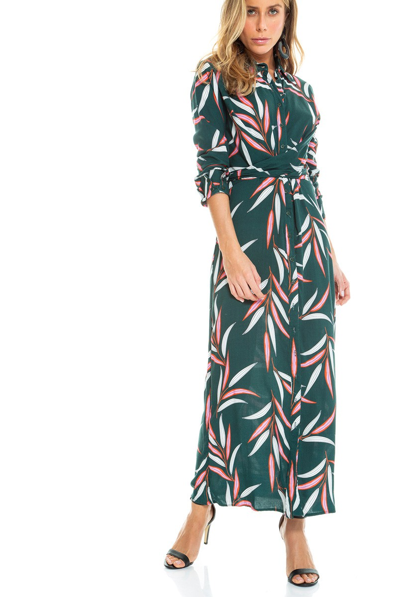 Vestido manga longa de estampa folhas