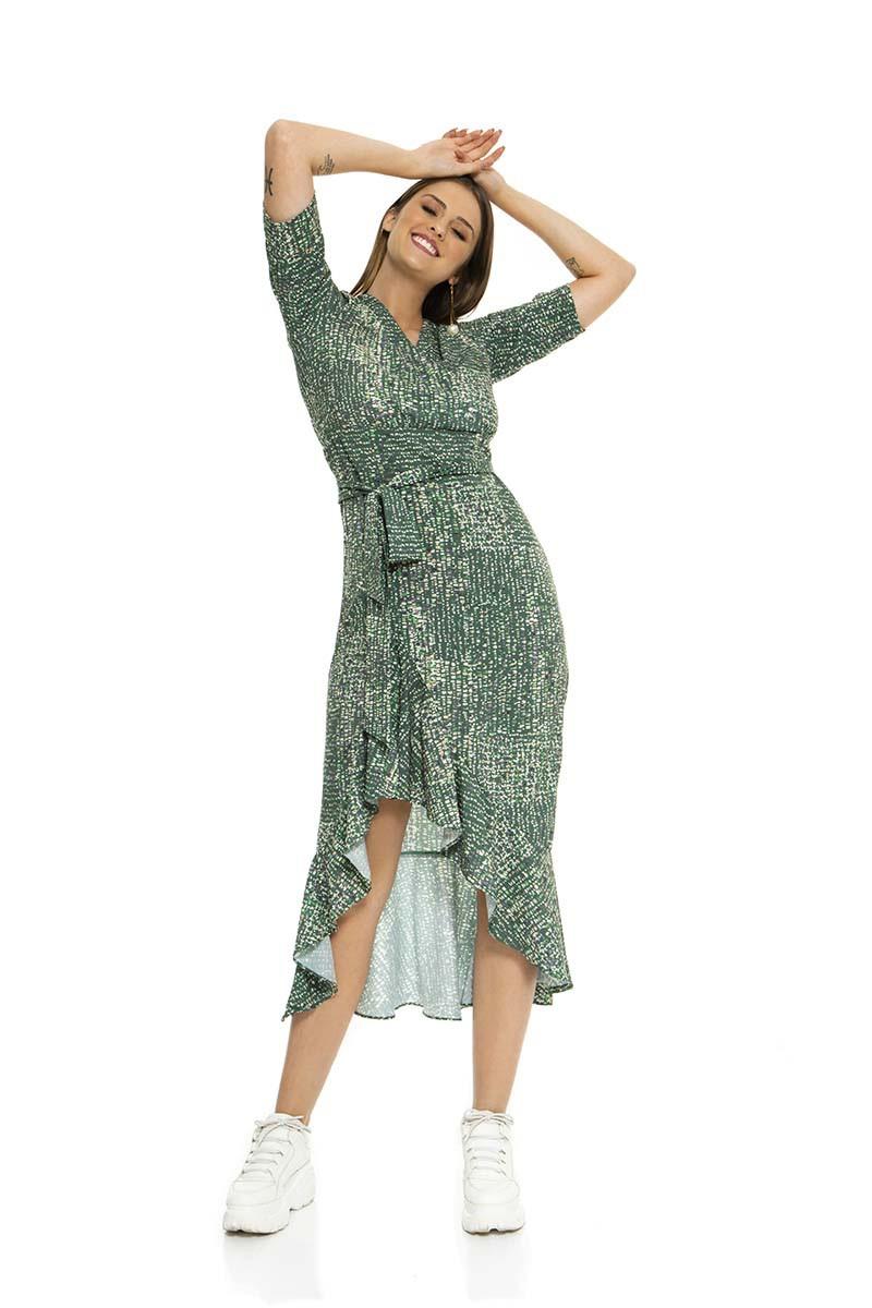 Vestido midi verde com manga ¾. (Estampa exclusiva)