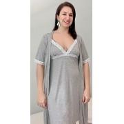 Camisola de amamentação + Robe - renda mescla