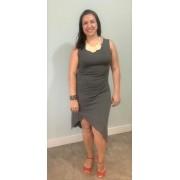 Vestido de amamentar assimétrico - Marinho e cinza