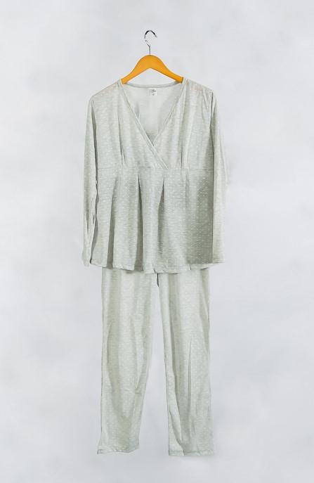 Pijama de amamentação longo transpassado
