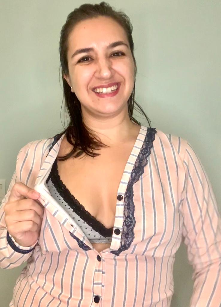 Pijama longo de amamentar - Listras