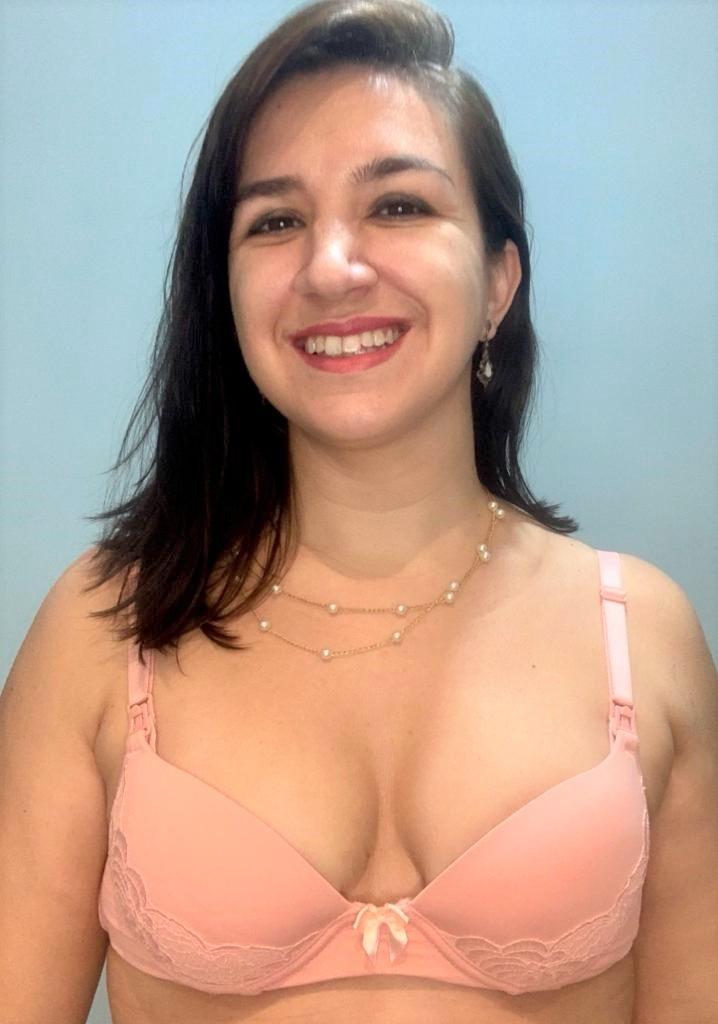 Sutiã de amamentação com bojo e renda aplicada Mondress -Rosa/ Preto