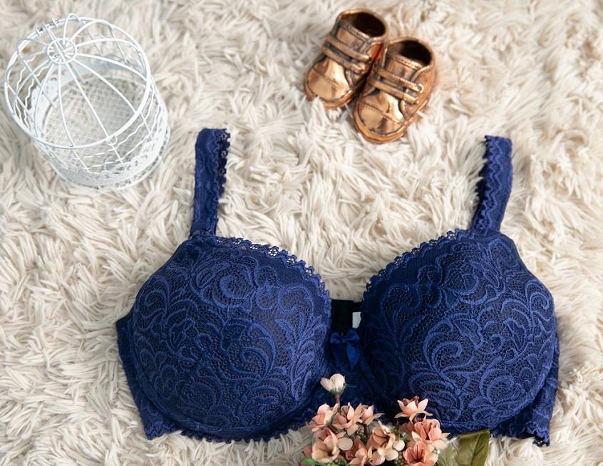 Sutiã de amamentação rendado com bojo Mondress - Azul Bic