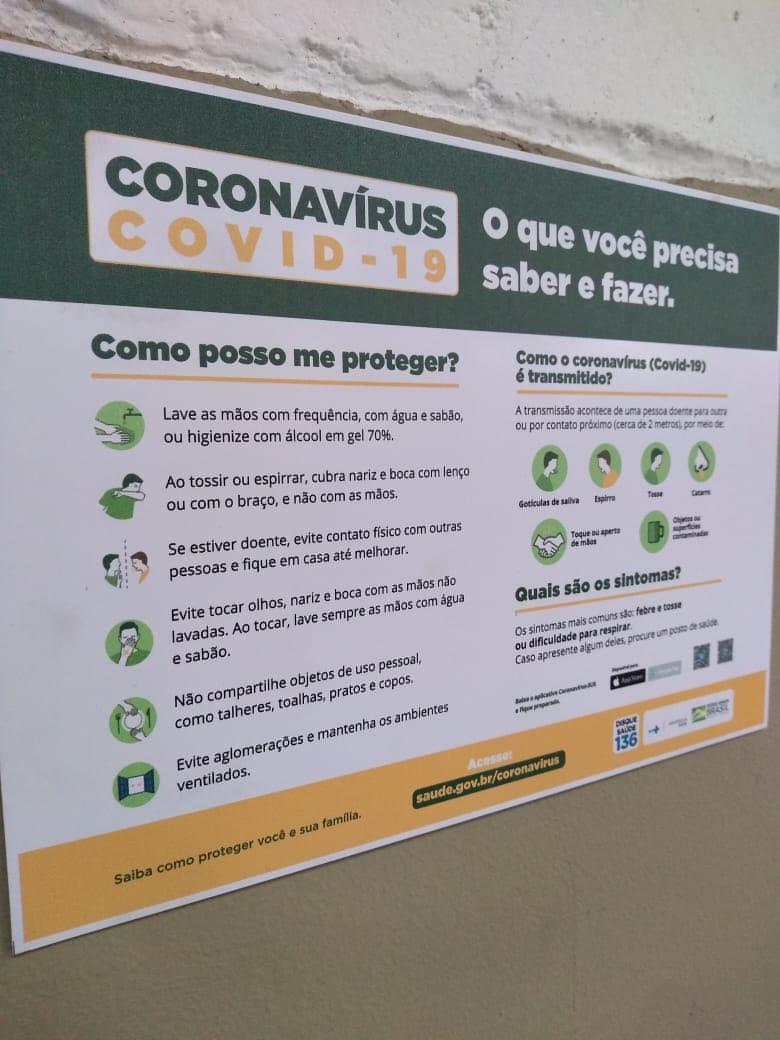 Placa Orientação Coronavírus - Ministério da Saúde