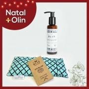 Kit Natal Relax Facial Sabonete líquido Facial  Vegano Natural + Almofada Térmica Eye Pillow Azul Turquesa